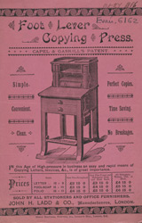 Advert for the Foot Lever Copying Press 6162